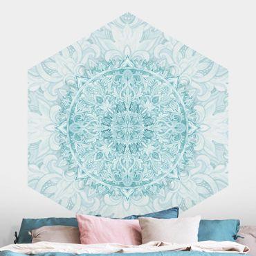 Hexagon Mustertapete selbstklebend - Mandala Aquarell Ornament türkis