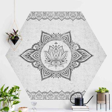 Hexagon Fototapete selbstklebend - Mandala Lotus Betonoptik