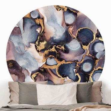 Runde Tapete selbstklebend - Marmor Aquarell mit Gold