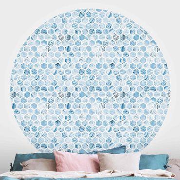 Runde Tapete selbstklebend - Marmor Hexagone Blaue Schattierungen