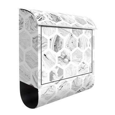 Briefkasten - Marmor Hexagone in Graustufen