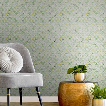 Metallic Tapete  - Marmor Muster Frühlingsgrün