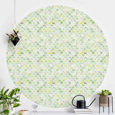 Runde Tapete selbstklebend - Marmor Muster Frühlingsgrün