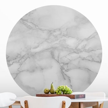 Runde Tapete selbstklebend - Marmoroptik Schwarz Weiß