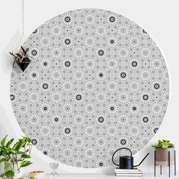 Runde Tapete selbstklebend - Marokkanische Blumen Linienmuster