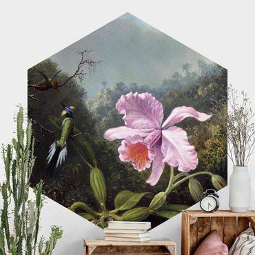 Hexagon Mustertapete selbstklebend - Martin Johnson Heade - Stillleben mit Orchidee und zwei Kolibris