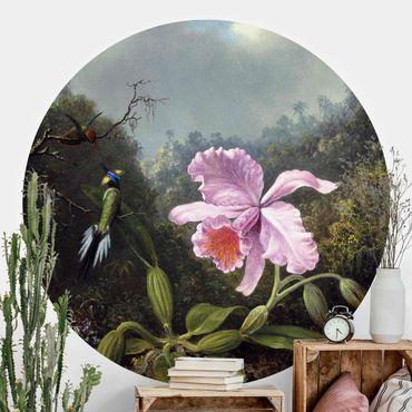 Runde Tapete selbstklebend - Martin Johnson Heade - Stillleben mit Orchidee und zwei Kolibris