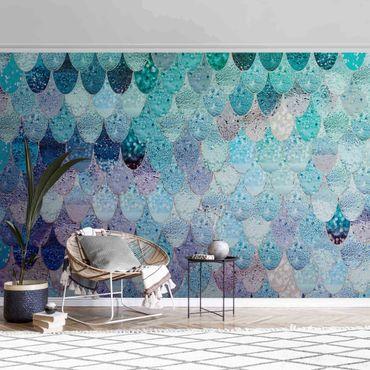 Metallic Tapete  - Meerjungfrauen Magie in Blaugrün