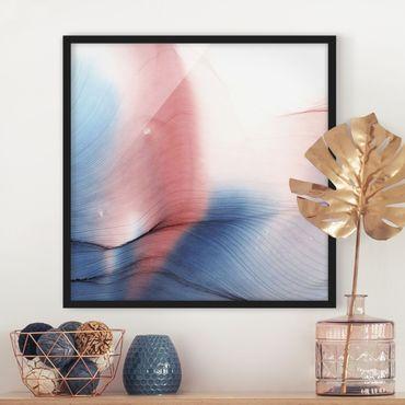 Bild mit Rahmen - Melierter Farbtanz in Blau mit Rot - Quadrat