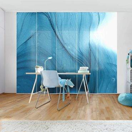 Schiebegardinen Set - Meliertes Blau - Flächenvorhang
