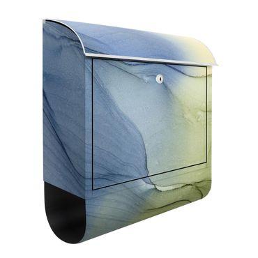 Briefkasten - Meliertes Blaugrau mit Moosgrün
