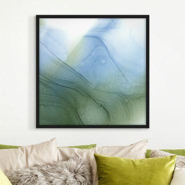 Bild mit Rahmen - Meliertes Moosgrün mit Blau - Quadrat