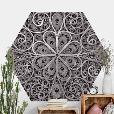 Hexagon Mustertapete selbstklebend - Metall Ornamentik Mandala in Silber