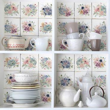 Möbelfolie - Aquarell Blumen Landhaus