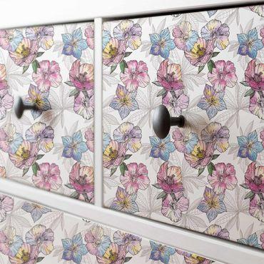 Möbelfolie - Aquarell Blumenmuster Pastellfarben - Möbel Klebefolie