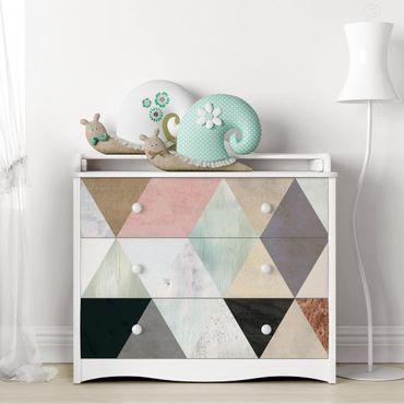 Möbelfolie - Aquarell-Mosaik mit Dreiecken I
