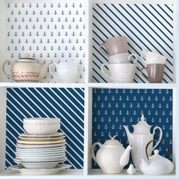 Möbelfolie blau weiss - Maritimes Anker Set mit Streifen - Polarweiss Preussisch Blau