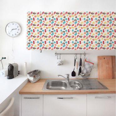 Möbelfolie - Buntes handgezeichnetes Küchen Sommerfrüchte-Muster - Möbel Klebefolie
