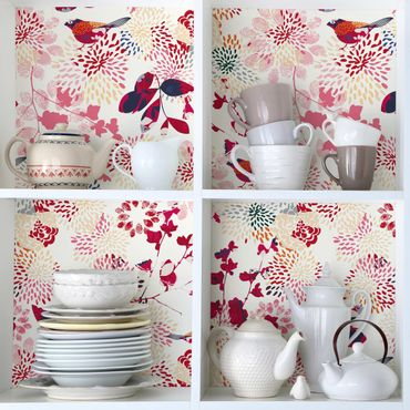 Möbelfolie - Fancy Birds - Florales Muster mit Vögeln - Möbel Klebefolie
