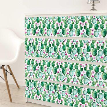 Möbelfolie - Kaktus mit Blüten Aquarell