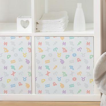 Möbelfolie - Kinderzimmer-Lernmuster mit bunten Sternzeichen Symbolen - Selbstklebende Folie