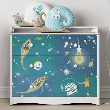 Möbelfolie Kinderzimmer - Weltall und Astronauten Set