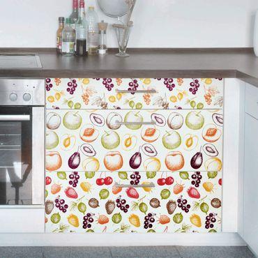 Möbelfolie Küche - 3 handgezeichnete Früchte Muster - Küchenfrontenfolie