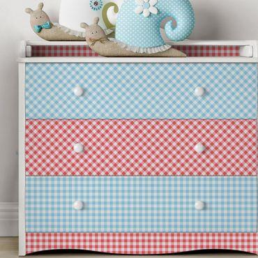 Möbelfolie Küche Set - Karomuster mit Streifen in Pastellblau und Vermillon