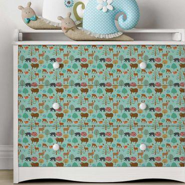 Möbelfolie - Modernes Kindermuster mit Waldtieren - Klebefolie für Möbel