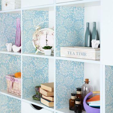 Möbelfolie - Modernes skandinavisches Blumenmuster hell-blau - Möbel Klebefolie