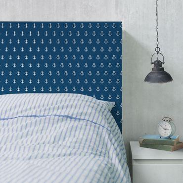 Möbelfolie - Monogram Anker Muster blau weiss - Selbstklebende Folie