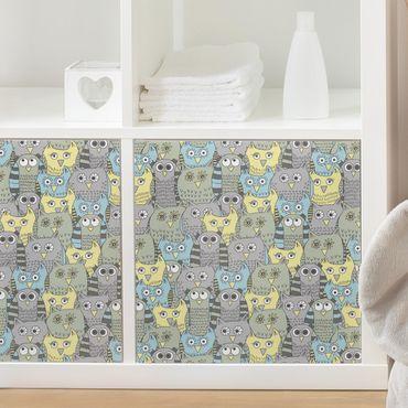 Möbelfolie - Muster mit lustigen Eulen blau - Folie für Möbel selbstklebend