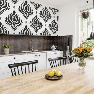 Möbelfolie - Neo Barock schwarz weiss Damast Muster - Selbstklebende Folie