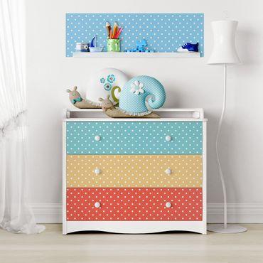 Möbelfolie Punkte Set Kinderzimmer - Weiß gepunktete Pastell-Farben - Türkis Blau Gelb Rot