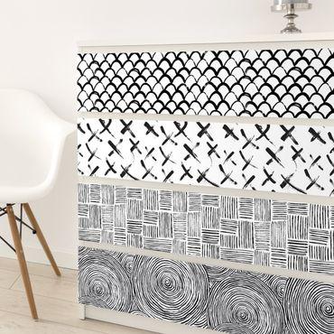 Möbelfolie schwarz weiß - Set aus 4 modernen Pinselstriche-Mustern