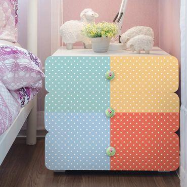 Möbelfolie Set - 4 Pastell-Farben mit weißen Punkten - Türkis Blau Gelb Rot