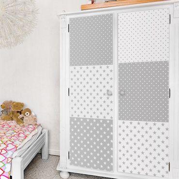 Möbelfolie Set - Grau weiße Sterne und Punkte in 4 Variationen