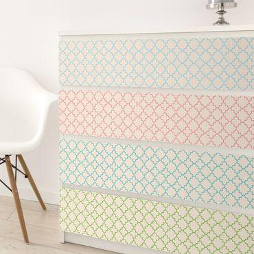 Möbelfolie Set - Marokkanisches Mosaik Vierpassmuster mit 4 Farben