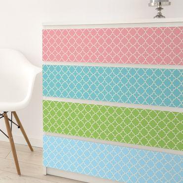 Möbelfolie Set - Marokko Mosaik Vierpassmuster in 4 Farben
