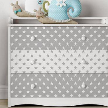Möbelfolie Sterne Musterset in grau und weiß