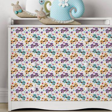 Möbelfolie - Süßes Kinderzimmer-Muster mit verliebten Eulen - Möbel Klebefolie