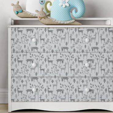 Möbelfolie - Süßes Reh Muster in verschiedenen Grautönen - Möbel Klebefolie