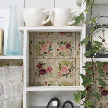 Möbelfolie - Vintage Rosen und Hortensien