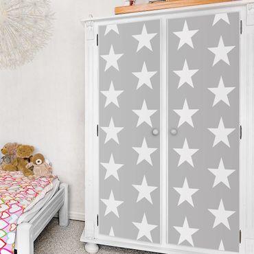Möbelfolie - Weiße Sterne auf Grau - Folie für Möbel selbstklebend