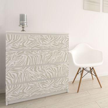 Möbelfolie - Zebra Design hellgrau Streifenmuster - Selbstklebende Folie