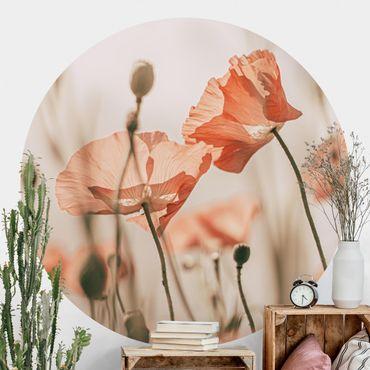 Runde Tapete selbstklebend - Mohnblüten im Sommerwind