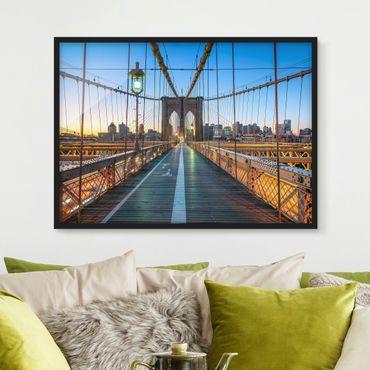 Bild mit Rahmen - Morgenblick von der Brooklyn Bridge - Querformat