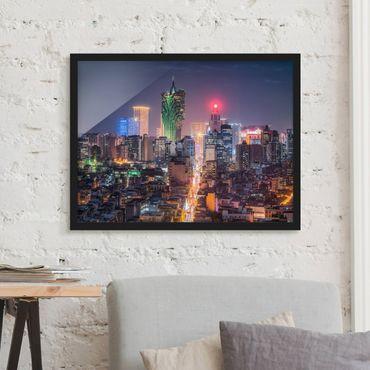 Bild mit Rahmen - Nachtlichter von Macau - Querformat