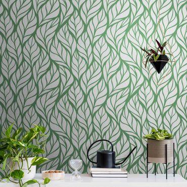 Metallic Tapete  - Natürliches Muster große Blätter auf Grün