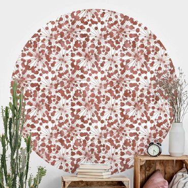 Runde Tapete selbstklebend - Natürliches Muster Pusteblume mit Punkten Kupfer